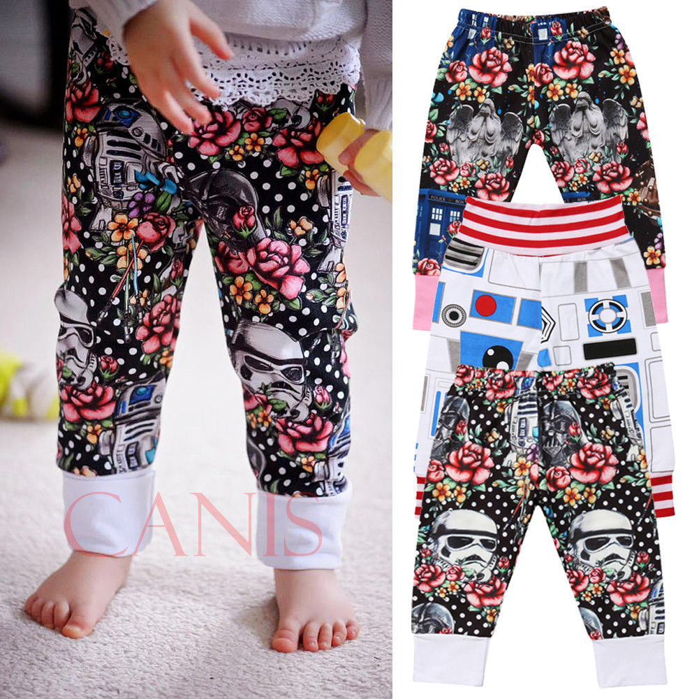 Cute Toddler Baby Children Kids Boys Girls Cat Harem Pants Long Cotton Trousers