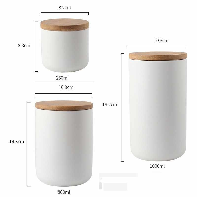 Nordic Style Ceramic Canister with Airtight Wooden Lids Food Storage Jar  Container Kitchen Storage Organizer for Home