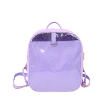 Clear transparent backpack women korean fashion pu leather school bag for teenagers girls ita small jelly