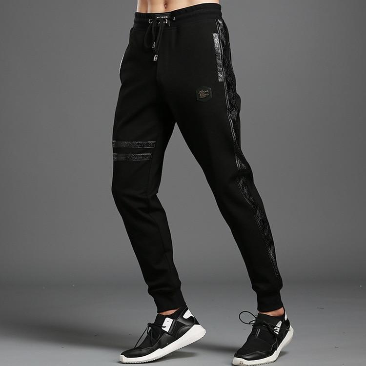#1813 Men Streetwear Sweatpants Black Men Jogger 4XL Side PU Leather High Street Elastic Waist High Quality Fashion Plus Size
