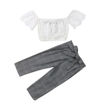2019 baby girl clothes set lace crop top vest+bow lace up plaid pants set baby clothes girl summer clothing 2pcs 2