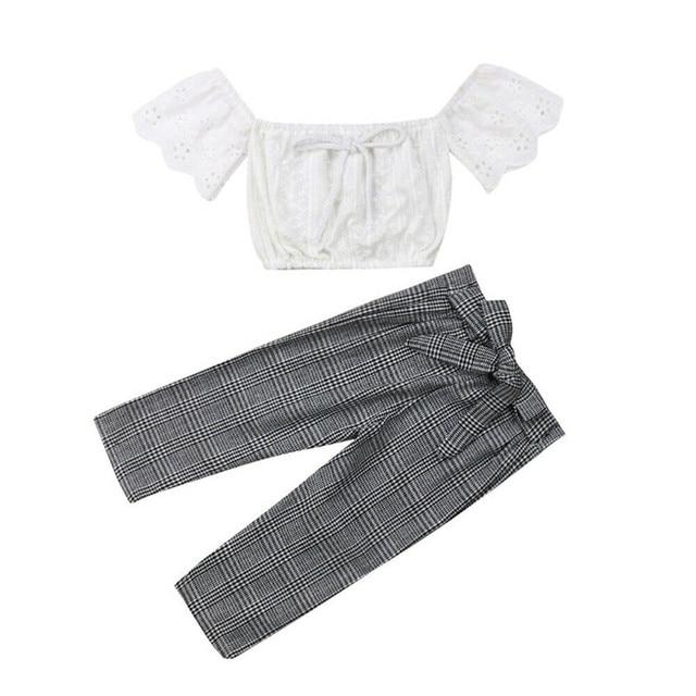 2019 baby girl clothes set lace crop top vest+bow lace up plaid pants set baby clothes girl summer clothing 2pcs 2