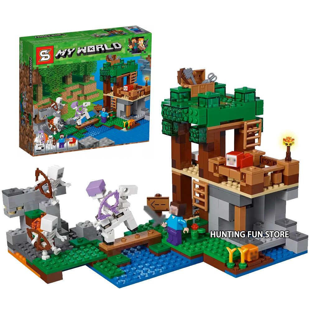 Fit Minecraft 21146 O Esqueleto Arena Set 518Pcs Com Caixa de Cavalo Mini Figuras Blocos de Construção de Brinquedos Para As Crianças Presentes