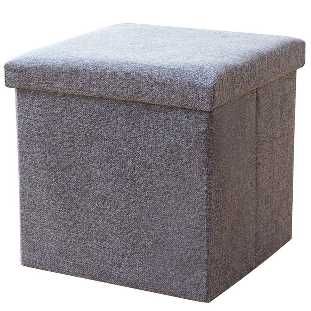 Pouf de rangement multifonction en lin de coton tabouret de siège pliable coffre coffre à jouets banc de pouf - 3