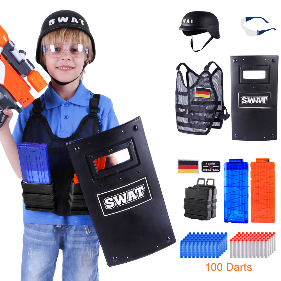 Adjustable Tactical Molle Wear Military SWAT Costume For Nerf N-strike Elite Series Game/6-12 Years Olds Boys -German Toy Style