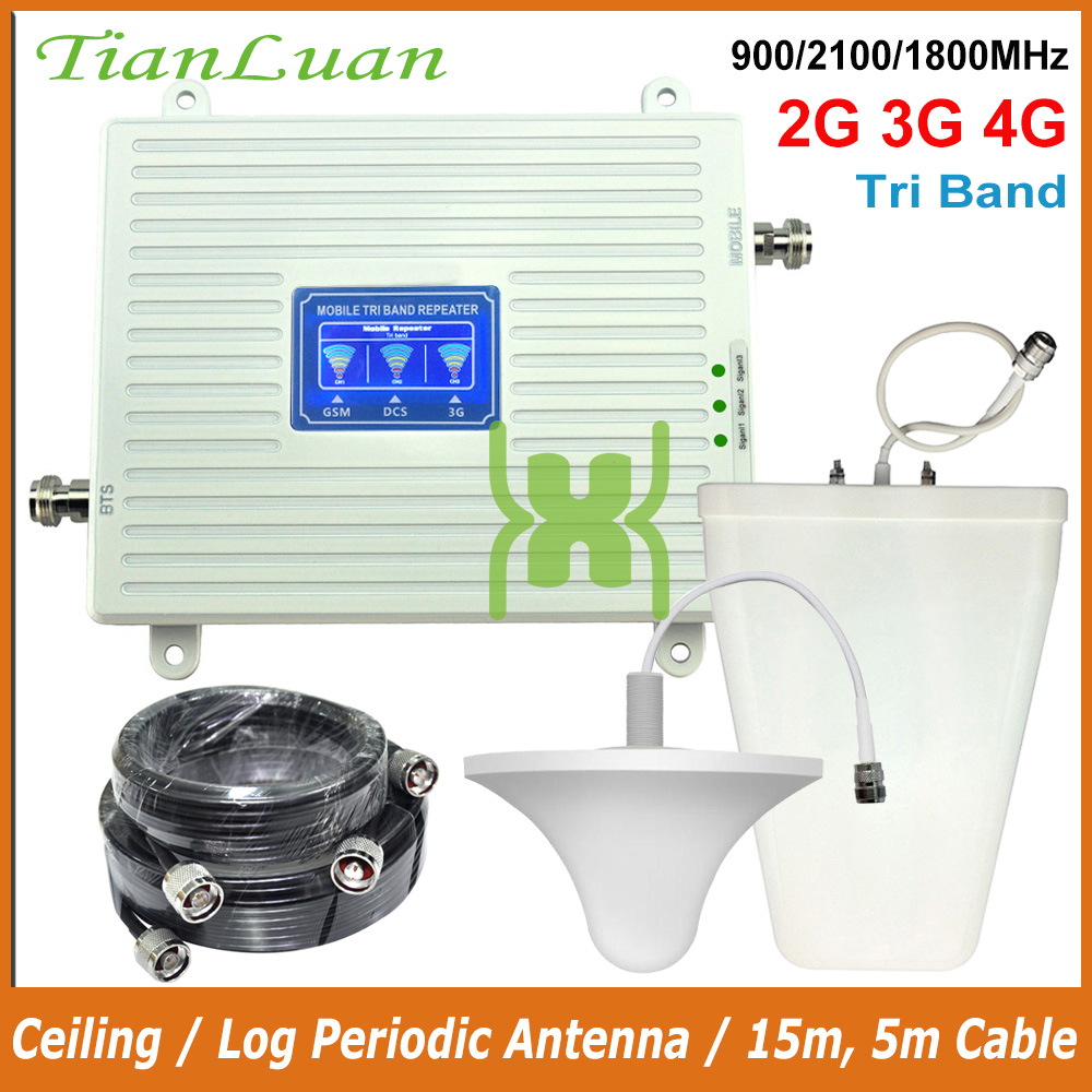 Full Set 2G GSM 900MHz DCS 4G LTE 1800MHz 3G UMTS W-CDMA 2100MHz Mobile Phone Signal Booster Repeater With Ceiling / Log Antenna