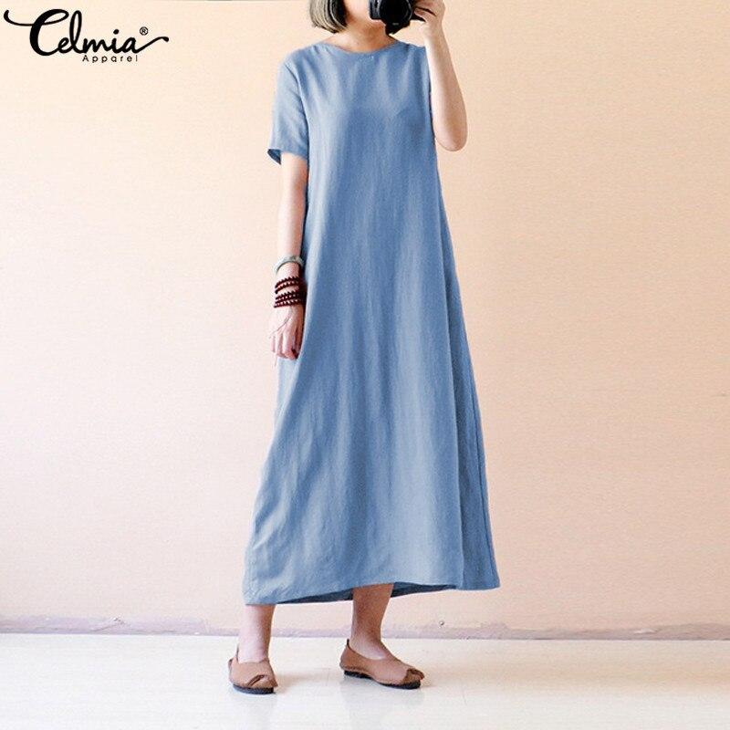 Celmia 2019 Summer  Maxi Dress Women Causal Short Sleeve Loose Solid Vintage Cotton Dresses Long Shirt Vestidos Plus Size