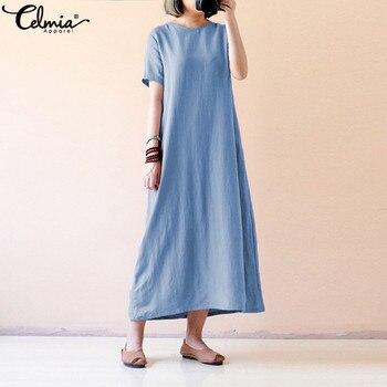 da6ce9db190c Celmia 2019 verano Maxi Vestido Mujer casual manga corta suelto sólido  Vintage algodón Vestidos Camisa larga más tamaño