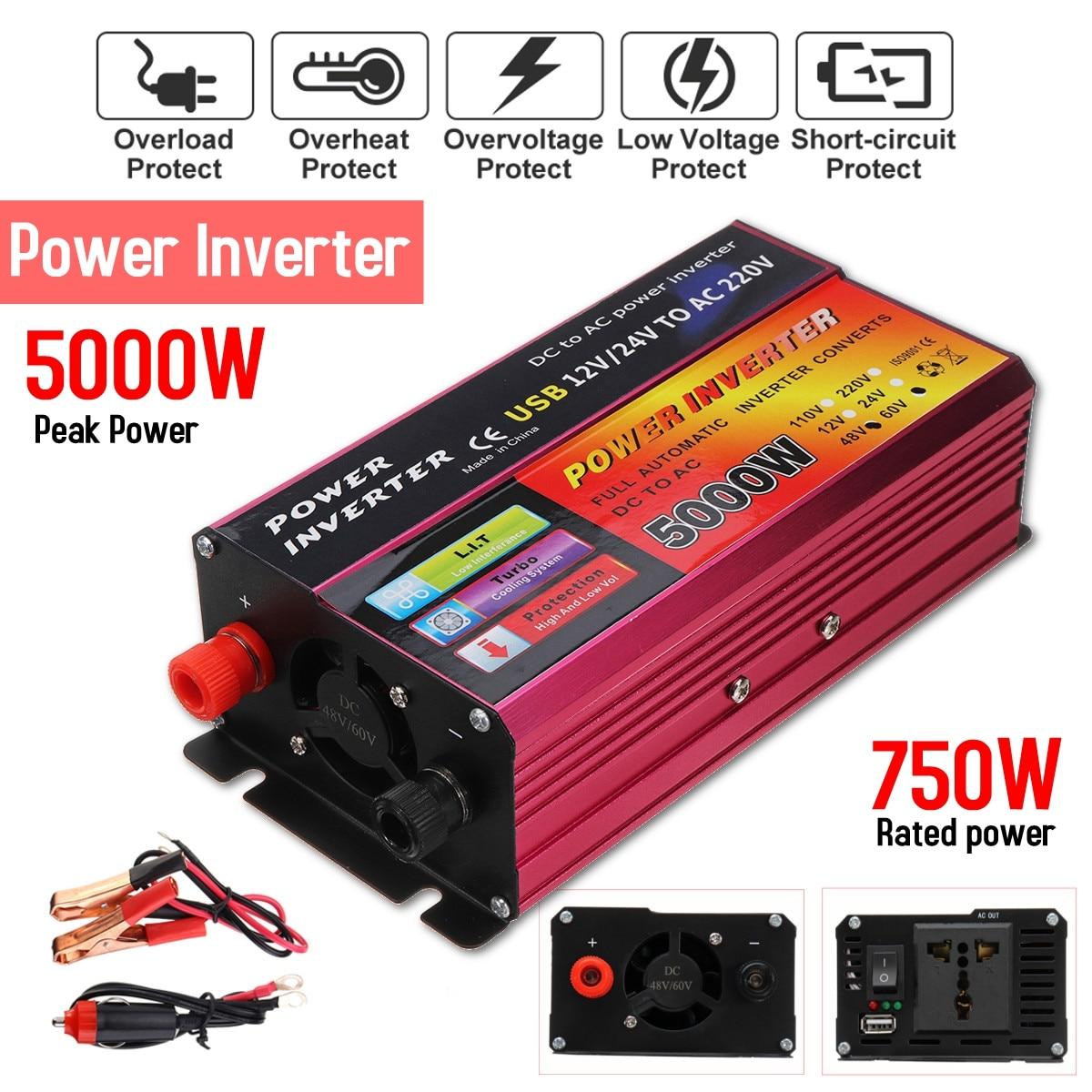 Inverter 12V/24V 220V 5000W Peak Power Inverter Voltage Convertor Transformer 48V/60V Automatic Adaptable
