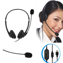 USB Hands-free Call Center Noise Cancelling Corded binaural Headset Hea