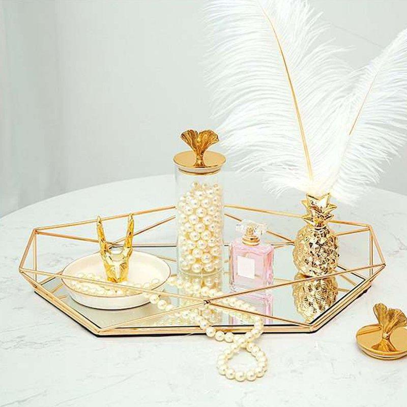 Винтажный Европейский цветной стеклянный металлический поднос для хранения, Золотая овальная точечная Фруктовая тарелка, настольные мелкие предметы, зеркальный дисплей для ювелирных изделий-4