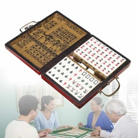 Top Quality Card Games 144 Tiles Mah Jong Set Multi color Portable Vintage Mahjong Rare Chinese Toy With Bamboo Box Party Gifts