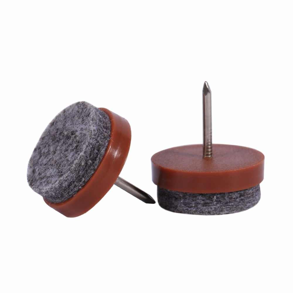 20 шт./лот 20 мм коричневый Пластик + Войлок + металл Материал фурнитура для стола стула стул насадка на ножку на фетр защита для пола Pad слайд
