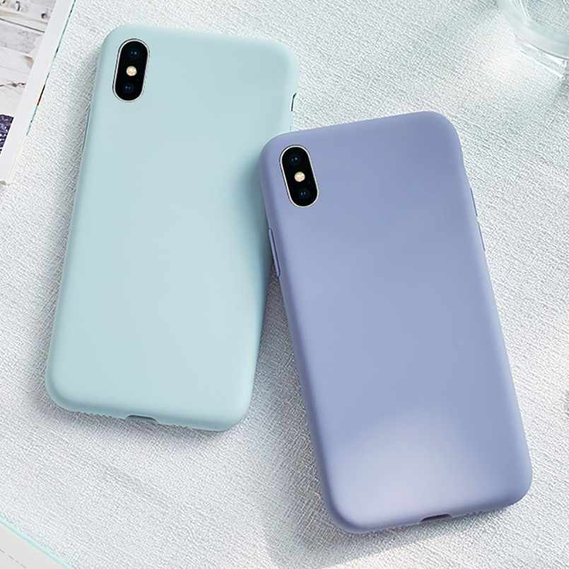 Plain Phone Case For IPhone 7 8 Case Liquid Silicone Cover Anti