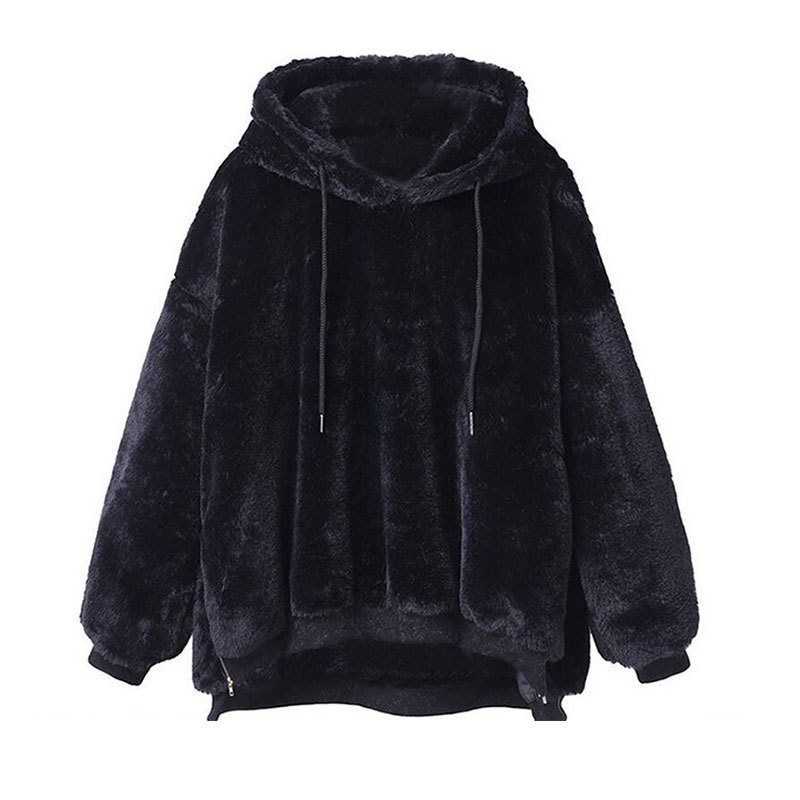 ca59551768d Women Hoodies Gothic Casual Plus Size Black Loose Pullover Hooded Wrapped  Plain Female Fashion Pink Sweet