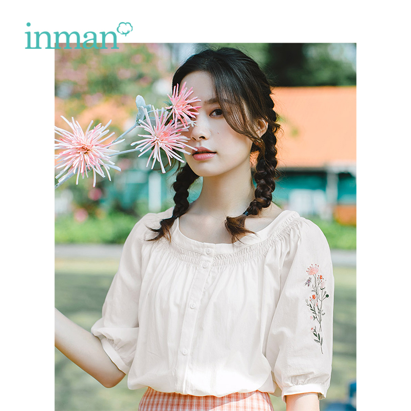 INMAN Summer O-neck Literary Embroidery Retro Holiday Style All Matched Half Sleeve Women Shirt