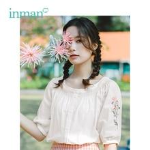 INMAN Летняя женская рубашка с круглым вырезом и вышивкой в стиле ретро для отдыха
