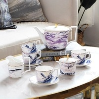 Bone Porcelain Coffee Pot Suit Originality Teapot Violet Dali Cup Saucer Afternoon Tea