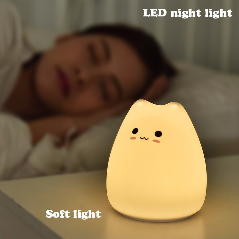Animal Bedside Lamp Baby 3D Cartoon Small Cat Night Light For Bedroom Lamps AAA Battery Christmas Xmas Color Changed Nightlight