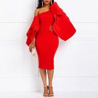 Red Bodycon Dress Women Ruffle Sleeve Design High Waist Fashion Spring Elegant Party Evening Ladies Split Backless Sexy Dresses