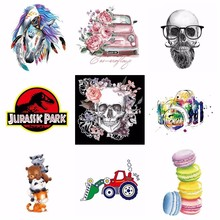 Pulaqi Colorful Punk Rose Skull Iron-on Transfer For Men Coat DIY Shirt Patches Clothing Car Dinosaur Heat Stickers