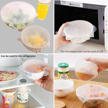 Kitchen Silicone Food Fresh Keeping Wrap Silicone Seal Bowl Cover Strech Kitchen Tool Preservative Film Kitchen Accessories image