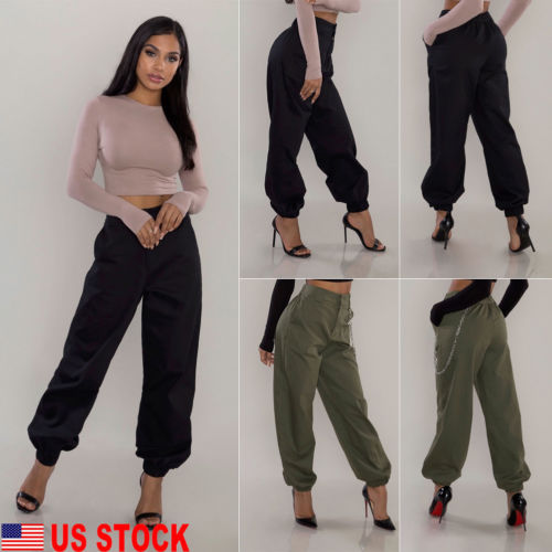 New Fashion Women Casual Loose Pure Color Harem Black Army Green Long Pants Cotton Trouser Plus Size S-3XL