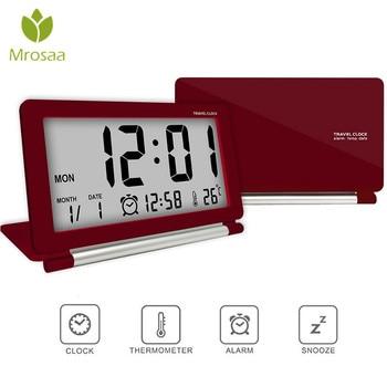 Mrosaa Electronic Alarm Clock Travel Multifunction Silent LCD Digital Large Screen Folding Desk Clocks Temperature Date Time digital clock