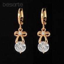 Золотые серьги длинные с кристаллами женские lange oorbellen