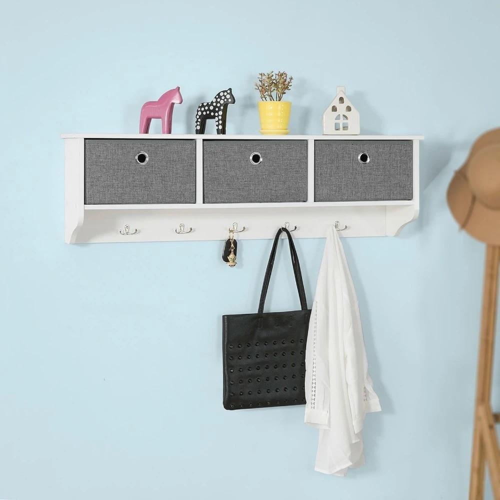 sobuy frg282 w wall coat rack shelf storage cabinet unit with 3 baskets 5 hooks