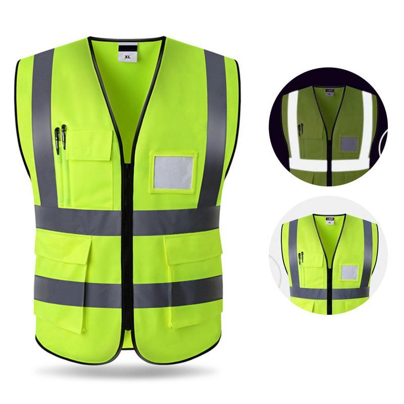 Hi-Vis Safety Vest Reflective Jacket Security Waistcoat Warp Knitting Cloth Outdoor Night Riding Running