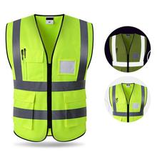 Hi-Vis Safety Vest Reflective Jacket Security Waistcoat Warp Knitting Cloth Outdoor Night Riding Running цена
