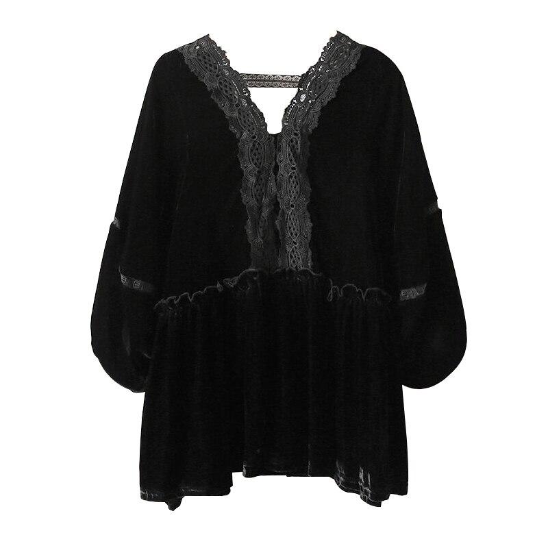 2019 Spring Oversized Top Tee Women Black Velvet Lantern Sleeve Lace V Neck Shirt Loose Plus Size 4XL