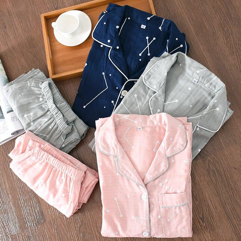 Japanese National Customs Lovers Kimono Pajamas Sets Autumn Pure Cotton Gauze Long Sleeve Woman Man Leisure Home Sleepwear Suit