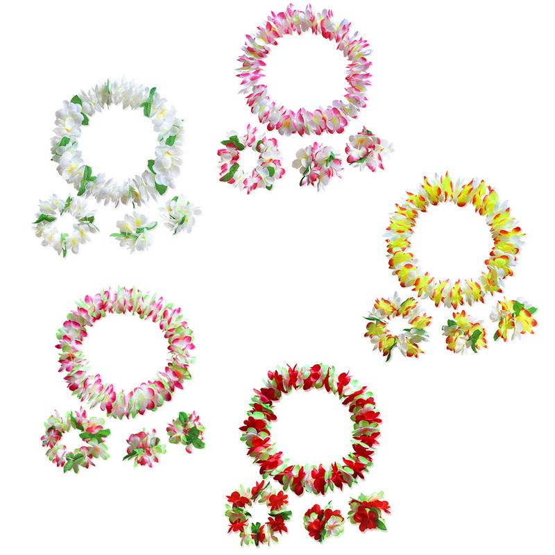 Hawaiian Garland Party Props Holiday Supplies 4 Piece Set High-quality Elastic Bands Beautiful For Adults And Children Portable