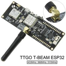 цена на TTGO T-Beam ESP32 433Mhz 868Mhz 915Mhz WiFi Wireless Bluetooth Module GPS NEO-6M SMA LORA 32 18650 Battery Holder with SoftRF