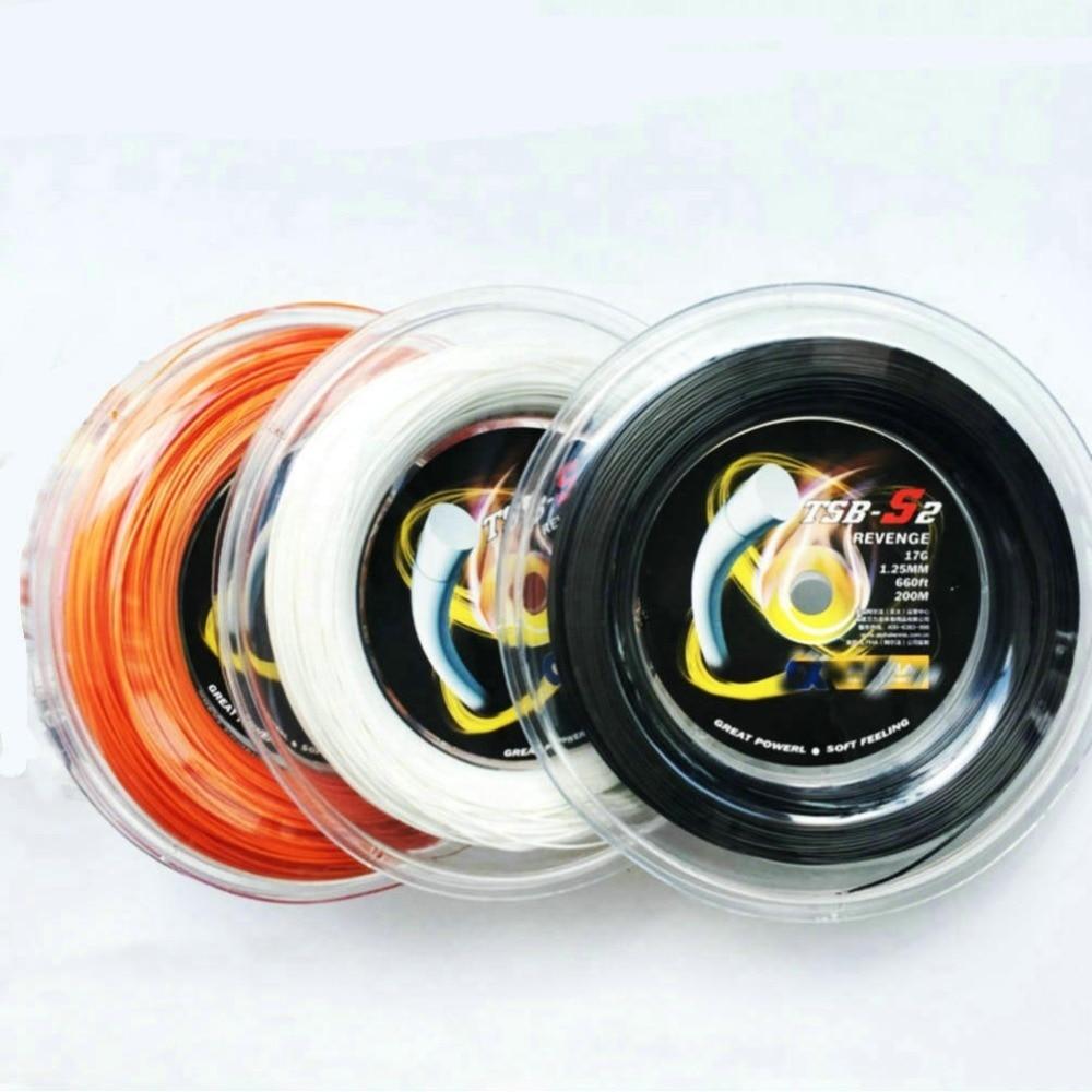 1 Reel Alpha  Polyester Tennis String Revenge S2  Tennis Racket Training String High Flexibility Durable 200m 1.25mm