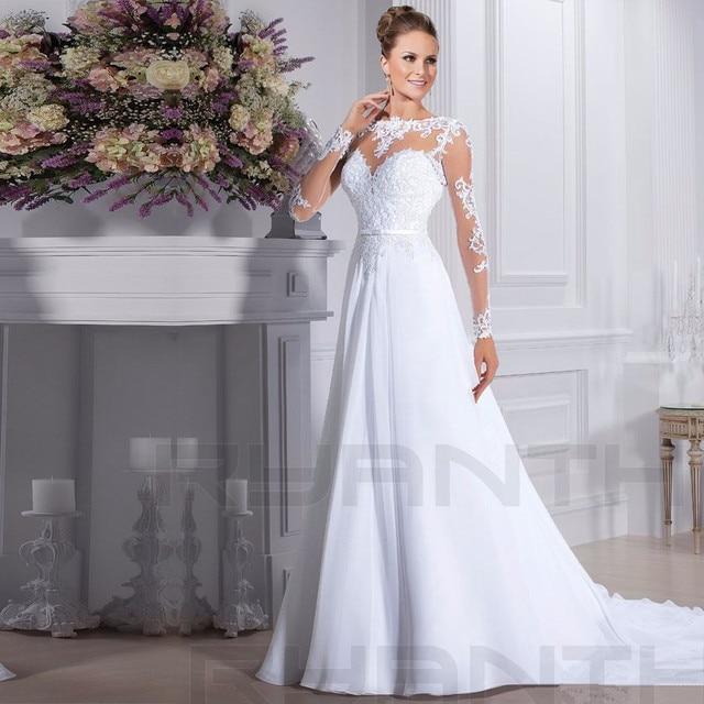 bf2fcfeade3 Vestido de novia de 2019 barato de encaje de manga larga de gasa Vestido de  novia