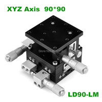 XYZ 3 Axis 90mm Linear Stage Trimming Platform Bearing Tuning Sliding Table 90*90mm XYZ90 LM,LD90 LM double cross rail
