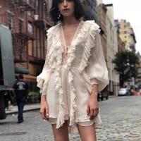 2019 Summer Vacation Casual Style Ruffles Chiffon Dress Womens Vintage Sexy V neck Boho Dress Summer Female Vestidos