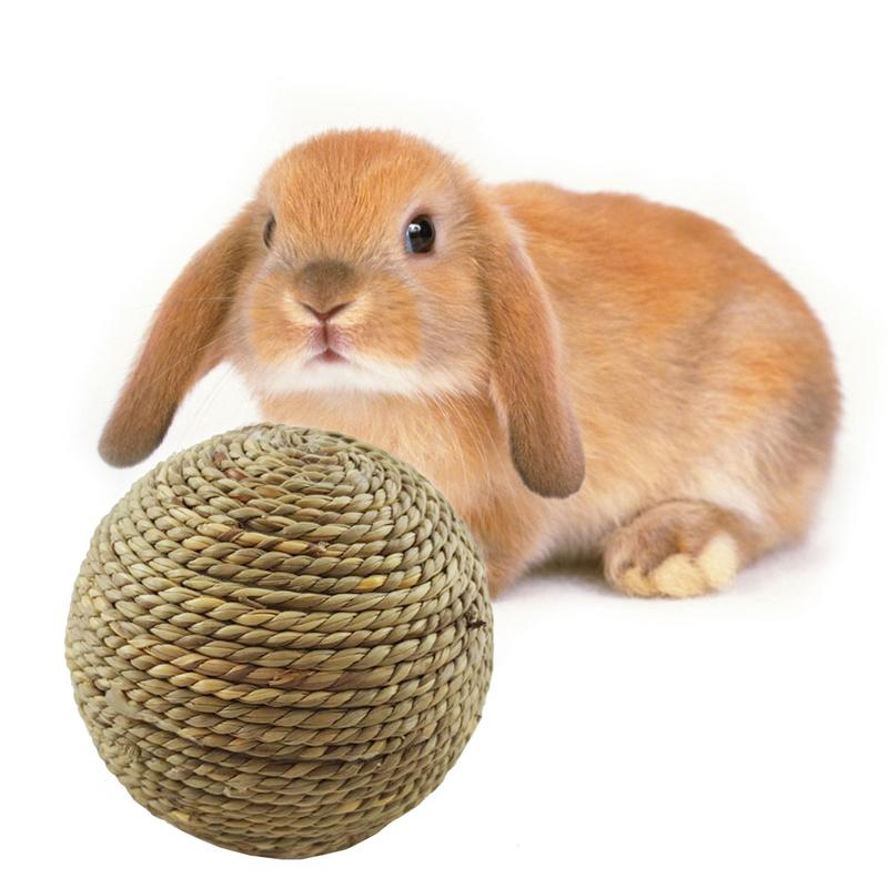 Small Pet Chewing Toy Natural Grass Ball For Teeth Cleaning Toys For Rabbits Small Pet Rodents Teeth Grinding Toy Pet Supplies