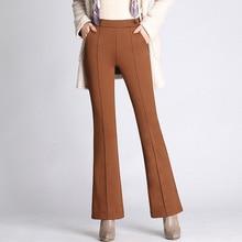 Shuchan Flare Pants For Women Full Length Elastic High Waist Work Wear Trousers 2018 Autumn Winter Clothing