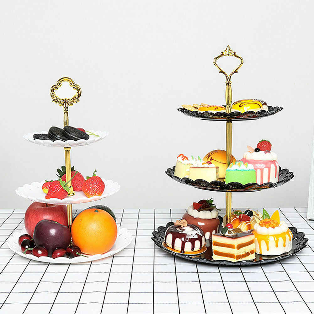 3 Tier Plastic Cake Stand Birthday Party Decor Afternoon Tea Wedding Plates Party Tableware Dessert Vegetable Storage Rack