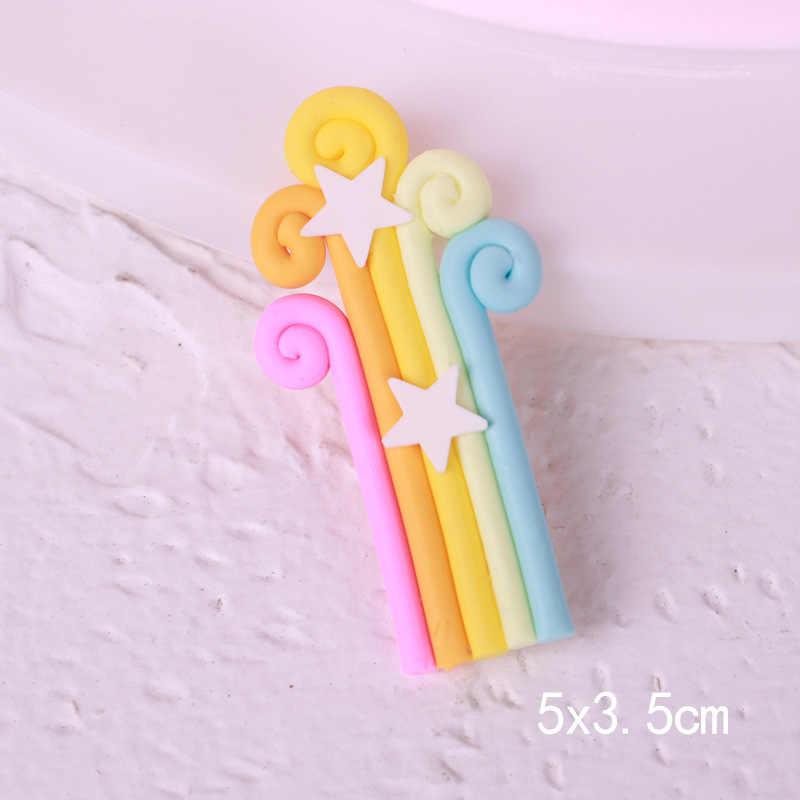 カラフルな Fimo 3D 虹雲ケーキトッパー結婚式誕生日パーティーケーキトップフラグベーキング装飾用品 TR001