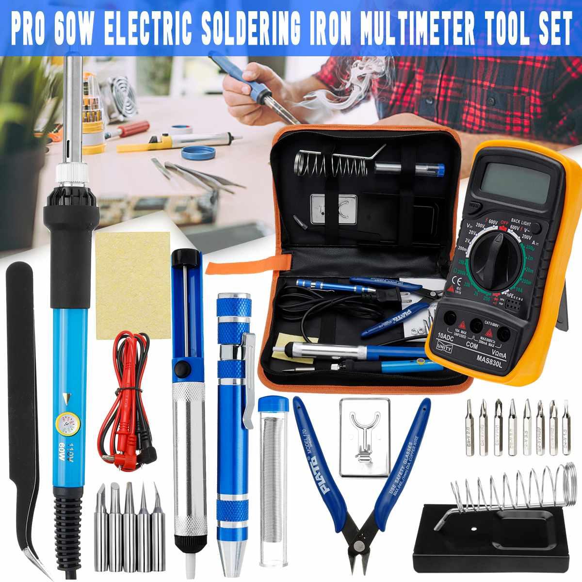 25 In1 60W AC 110V/220V Electric Adjustable Soldering Iron Welding Digital Multimeter Tool Kit Long Lasting Electronics Work