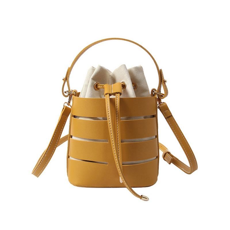 2019 New Tide Solid Color Hollow PU Material Small Fairy Bag Portable Bucket Bag Casual Wild Single Shoulder Messenger Bag