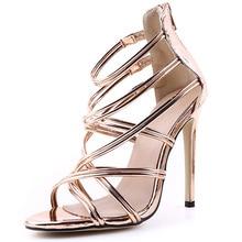 New 11CM Stiletto Thin High Heels Sandals Women Open Toe Cross Strap Wedding Party Ladies Fashion PU Summer Zipper