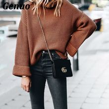 Genuo Winter women long sleeve knitted sweater pullover loose round neck sweater female autumn women casual sweater jumper top цена 2017