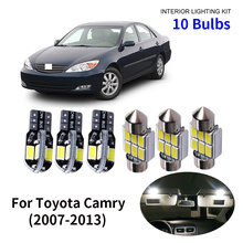 цена на 10pcs Car Accessories White Interior LED Light Bulbs Package Kit For 2002-2006 Toyota Camry T10 31MM Map Dome Trunk Lamp