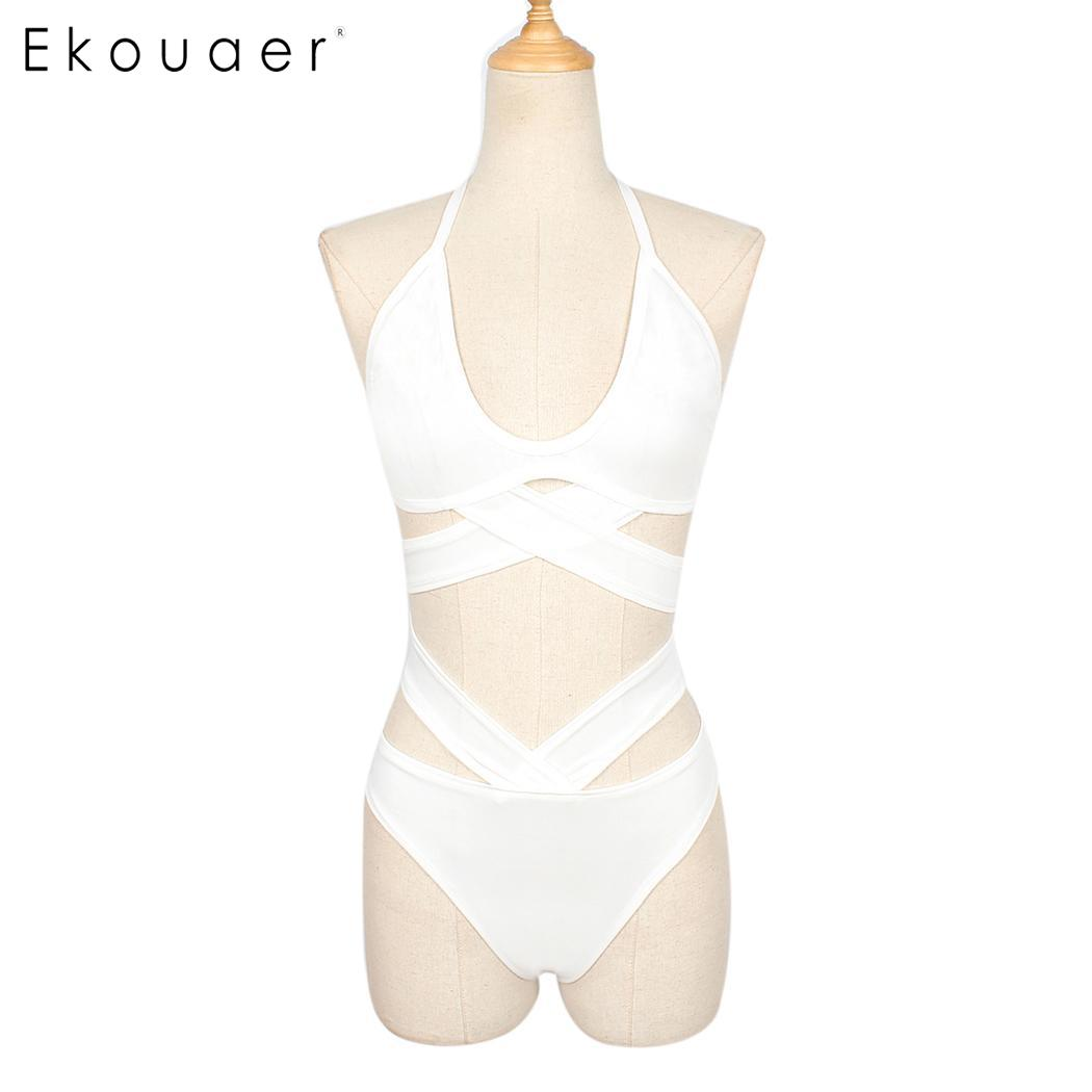 Halter lace-up sleeveless medium women elastic out solid hollow waist bikini strappy sexy back set beach summer swim